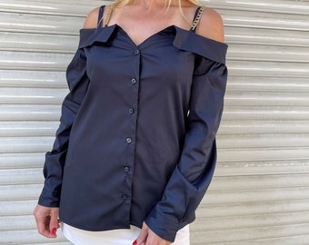 Off Shoulder Women Shirt / Extravagant Sexy Blouse / Navy Blue Long Sleeves Top