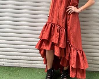 "Elegant Women Dress / Maxi Orange Ruffles Dress / Dramatic Hi-Low Sleeveless Dress /  - ""High Power Look"""