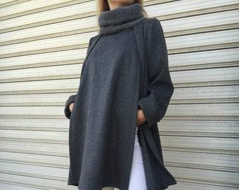 "Wool Poncho Coat with Pockets / Women Cape Coat / Grey Long Sleeve Trench Coat / Wool Turtleneck Vest - ""Let It Change"""