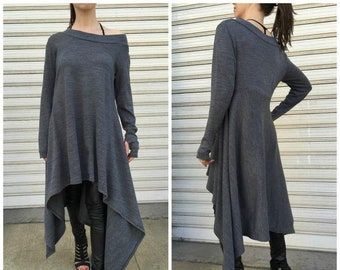 """Grey Asymmetrical Sweater Top / Oversize Sweater Dress / Long Sleeves Women Pullover / Thumb Holes Loose Dress - """"Drive, Driven"""""""