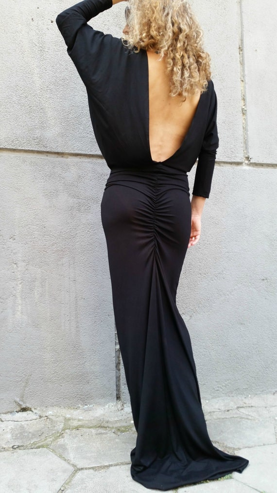 Black Long Sleeves Maxi Dress Loose Backless Dress Dolman Etsy
