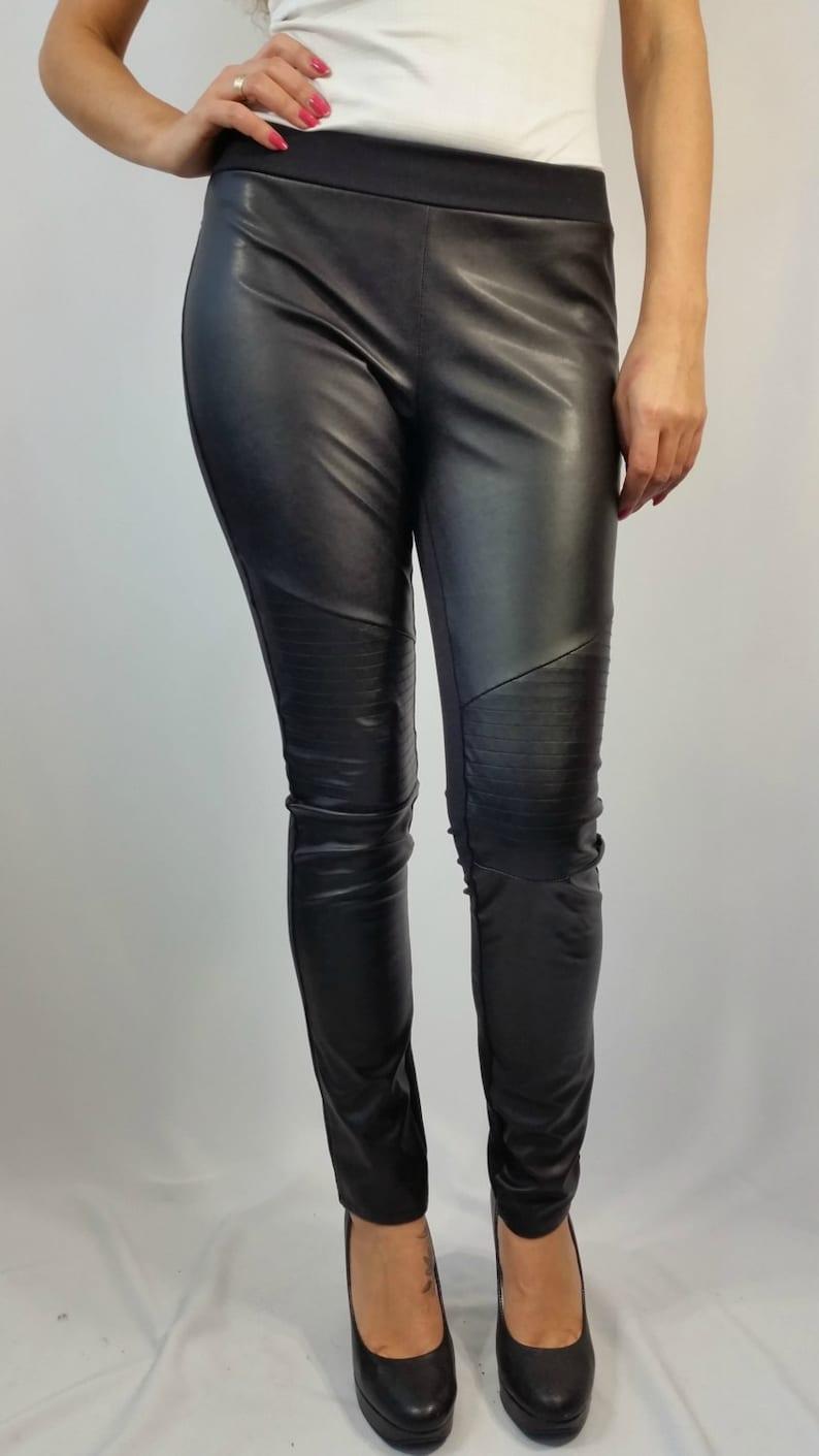 ba05fb7f17694 Black Long Faux Leather Leggings Women Stretch Leggings | Etsy