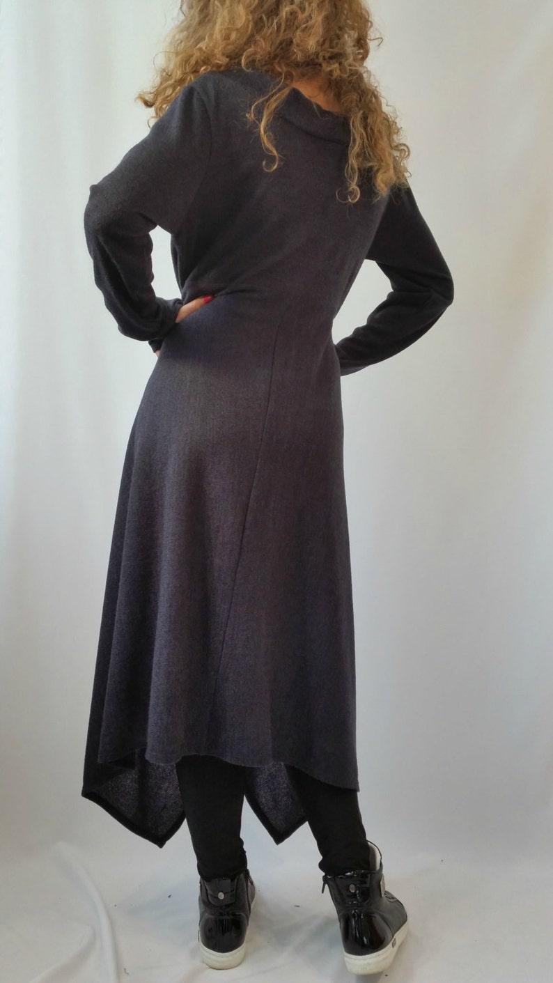 f1747d7bec0 Pull asymétrique gris   robe-pull manches longues maille coton
