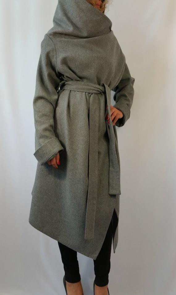 Graue Lange Wolle Mantel Winter Cape Mantel Kaschmir Poncho Etsy
