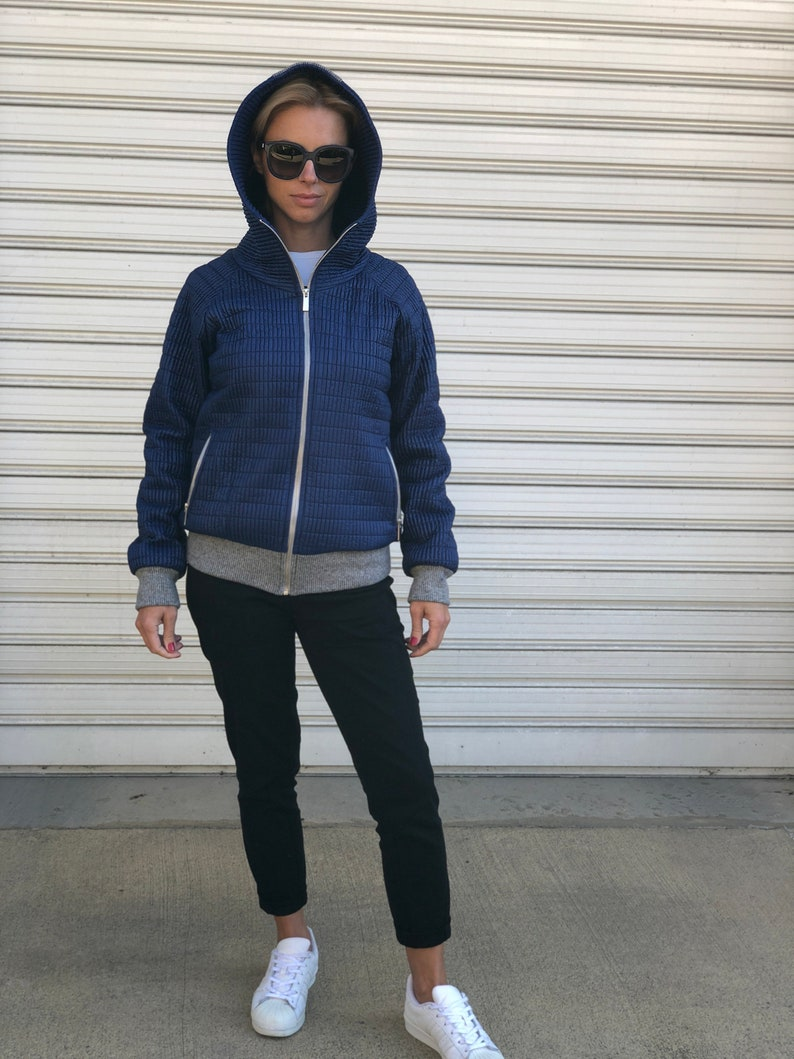 Women Blue Quilted Shell Hoodie  Breathable Lining Blue Jacket  Hooded Quilted Shell Down Jacket with Pockets