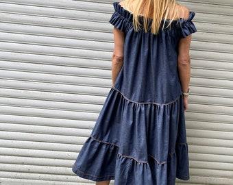"Women Elegant Midi Dress / Denim Sleeveless Dress / Extravagant Lovely Dress /  - ""Rock the Blue"""