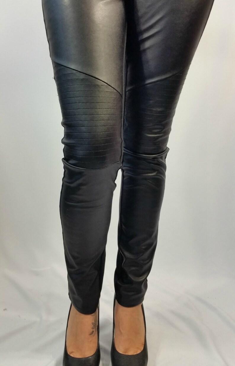 945279ae9c3ba Women Black Leggings Long Faux Leather Stretch Leggings | Etsy