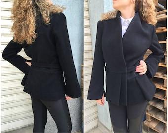 "Black Asymmetric Jacket / Wool Women Trench Coat / Winter Cape Coat / Fashion Jacket / EXPRESS SHIPPING / ""Honey Rider"""