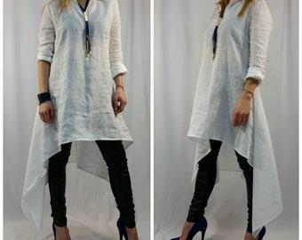 Linen Tunic Dress /Oversize White Caftan / Maxi Summer Dress / long Sleeve Linen Top / Casual Top / EXPRESS SHIPPING / MD1001