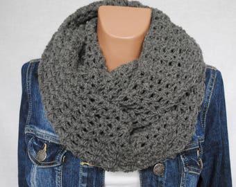 Crochet infinity scarf - Chunky infinity scarf - Dark gray Scarf - Knit infinity scarf