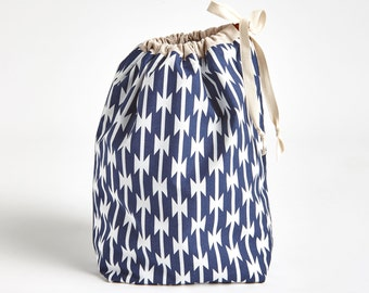 Drawstring Bikini Bag, Drawstring Pouch, Tomahawks by Made on Main VT
