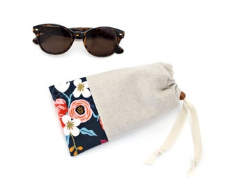Padded Sunglasses Case  with Cleaning Cloth in Les Fleurs Fabric by Rifle Paper Co.  Made in Vermont by Made on Main VT - Stocking Stuffers
