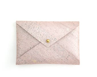 Pink Champagne Minimalist Wallet, Pink Business Card Holder