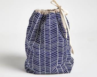 Drawstring Bag with Waterproof Lining, Beach Wet Bag in Navy Herringbone by Made on Main VT