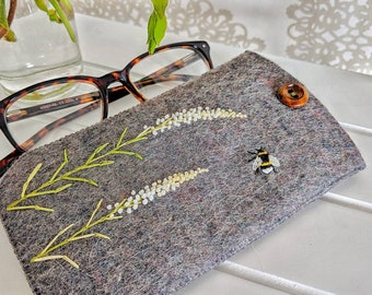 2ed1081aaeb1 Glasses case, felt glasses case, spectacle case, embroidered glasses case,  floral glasses case, bee, floral, gifts for her, birthday gift