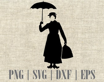 Mary Poppins Silhouette SVG Cut File, Digital Clipart, Editable Vector, Ideal for Scrapbooking and Cardmaking