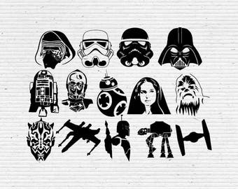 picture about Printable Star Wars Characters titled Star Wars Figures Silhouette and Resources SVG Slicing Etsy