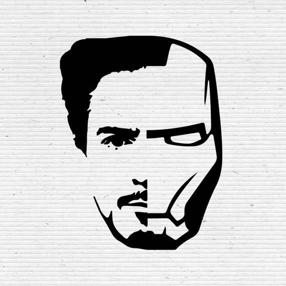 Étonnant Iron Man Tony Stark Face Silhouette Digital Clipart | Etsy JE-33