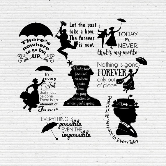 Mary Poppins Quotes Inspirational Quotes SVG & DXF Cut ...