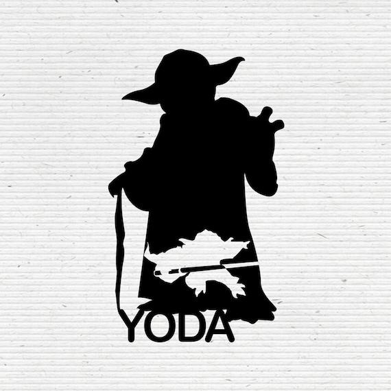 Master Yoda Jedi Master Star Wars Silhouette Svg Cutting Etsy