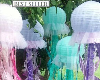 Jellyfish lantern hanging decoration pink, purple, or aqua for under the sea party, Little Mermaid Party etc one lantern per quantity