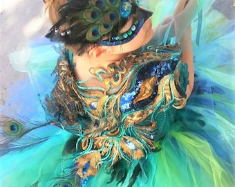 Peacock costume peacock tutu with mask and wand and gorgeous overlay choose set options kids halloween costume KIDS or ADULT
