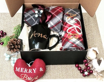 Custom Boxed Christmas Gift Set Hat Scarf W/ Monogram Fleece Hat Red Grey  Plaid Personalized Mug Custom Ornament Unisex Gift Corporate Gift