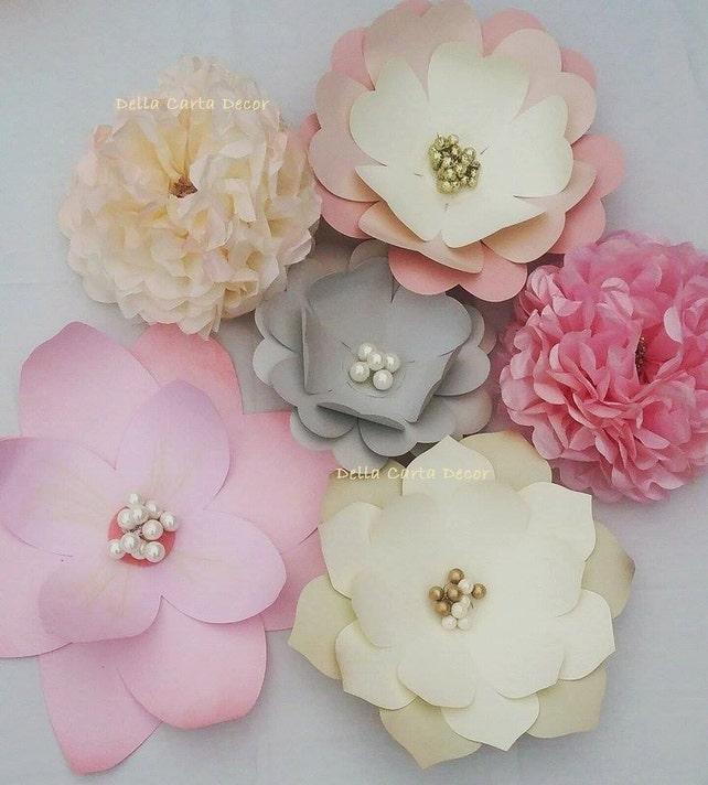 Large paper flowers pink gray cream gold blush set of 6 etsy image 0 mightylinksfo