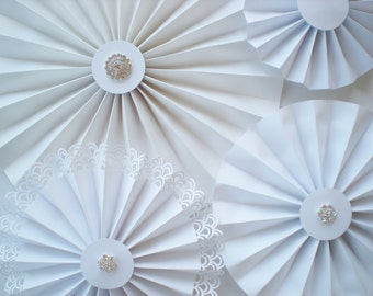 Wedding photo backdrop paper rosettes with high-quality rhinestones white with bling, pinwheel backdrop