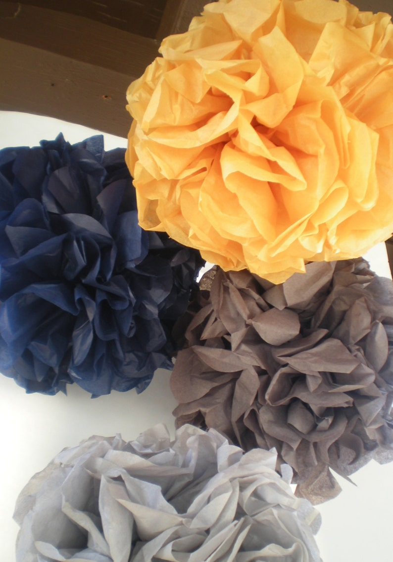 5 pom poms mustard yellow navy blue gray 9 diameter image 0