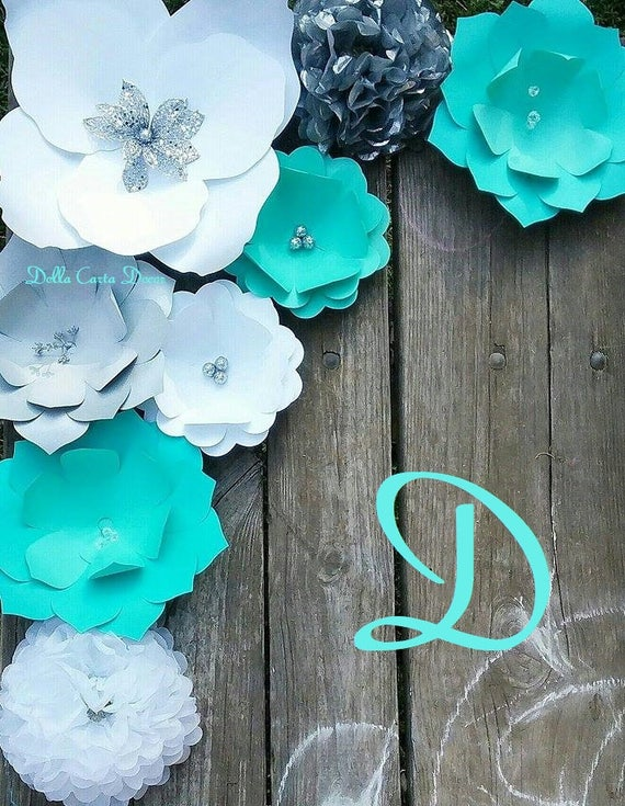 Large Paper Flowers Aqua Teal Blue Silver Gray And White Giant