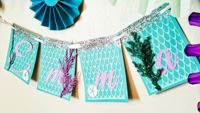 Under the Sea Banner with custom name purple Aqua silver glitter textured mermaid scales and sea plants personalized Banner  Little Mermaid