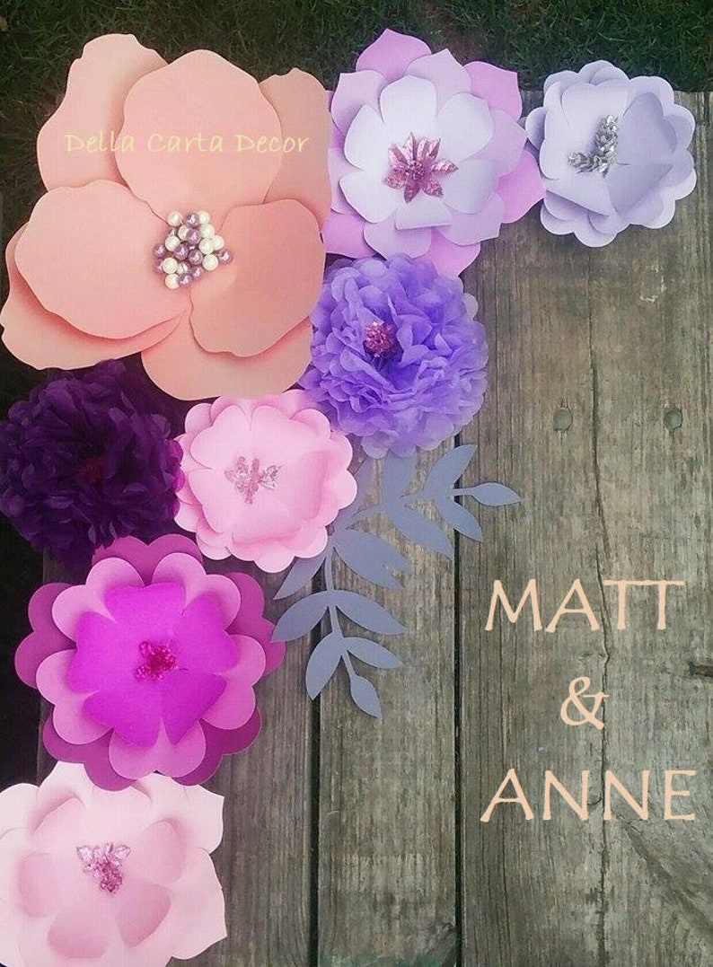 Paper Flower Backdrop Purple Peach Lilac Lavender Pink Giant Paper Flowers Extra Large Paper Flowers Table Backdrop Photo Backdrop