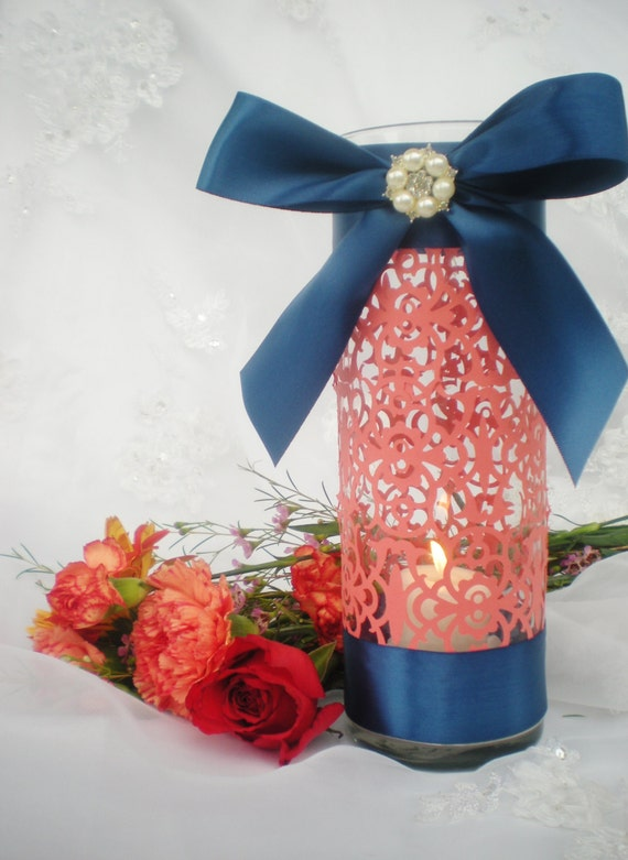Wedding Centerpiece 10 Tall Coral Navy Blue Intricate Etsy