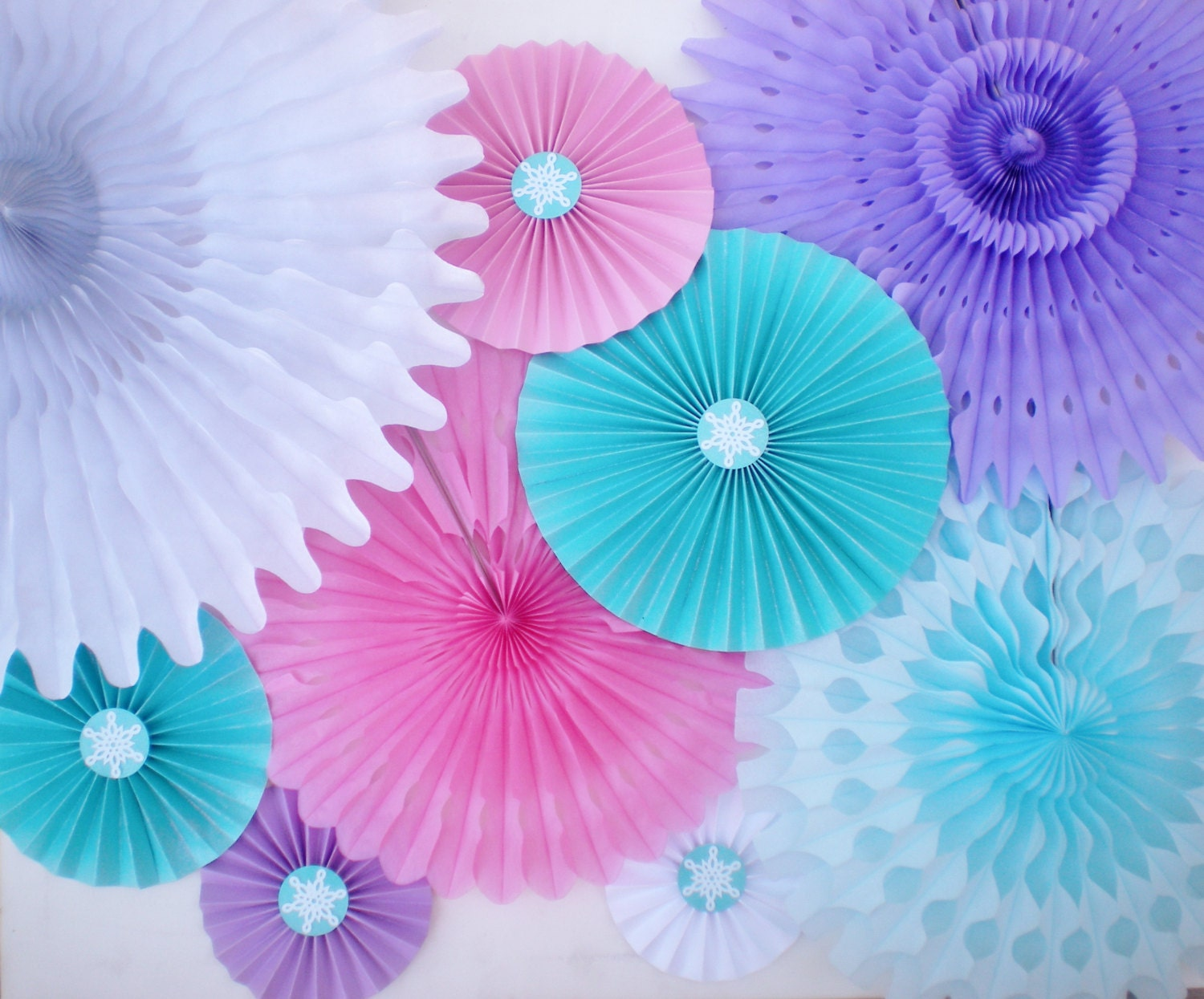 Frozen party backdrop tissue fans and paper rosettes pink | Etsy