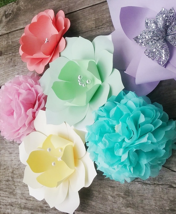 Big paper flowers pastel colors completely assembled for photo etsy image 0 mightylinksfo