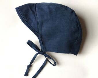 Cap Brimmed Deep Blue linen baby bonnet handmade sizes up to 2 years
