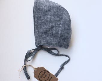 Baby linen bonnet - limited edition - navy 0-6 months