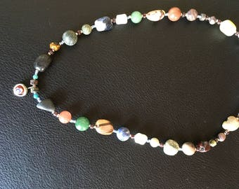 Mixed stone and silver necklace