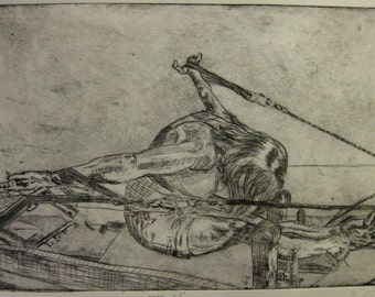 Etching of a woman performing Rowing on the Reformer.  Light aquatint added.
