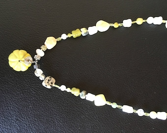 Handmade stone and glass green necklace