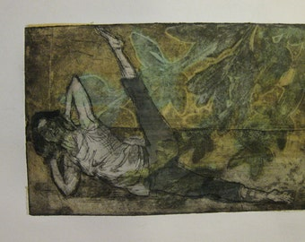 etching with soft ground and chine collee of woman performing passe on the mat