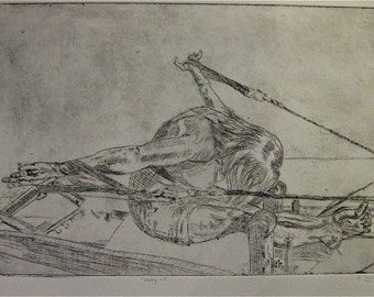 Etching of a woman performing rowing on the Reformer.  No aquatint added.