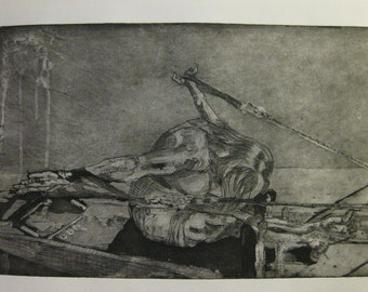 Aquatint, light soft ground etching of woman performing rowing on the reformer
