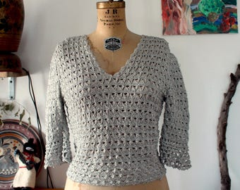 1960er Jahre 3/4 Ärmel Silber glitter Lurex saldiert Bluse mit Glockenärmeln. kleine bis mittlere