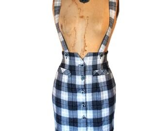 1990s. plaid. high waist pencil. suspender skirt. small
