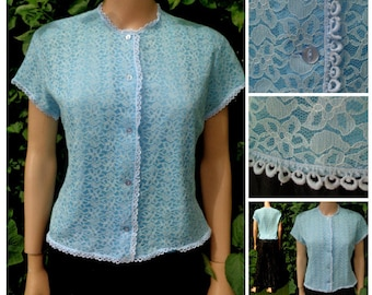 Vintage 50s /60s  Lace Short Sleeve Blouse by Sybille Claymar  Dainty Short Sleeves Scalloped  Light Teal Blue