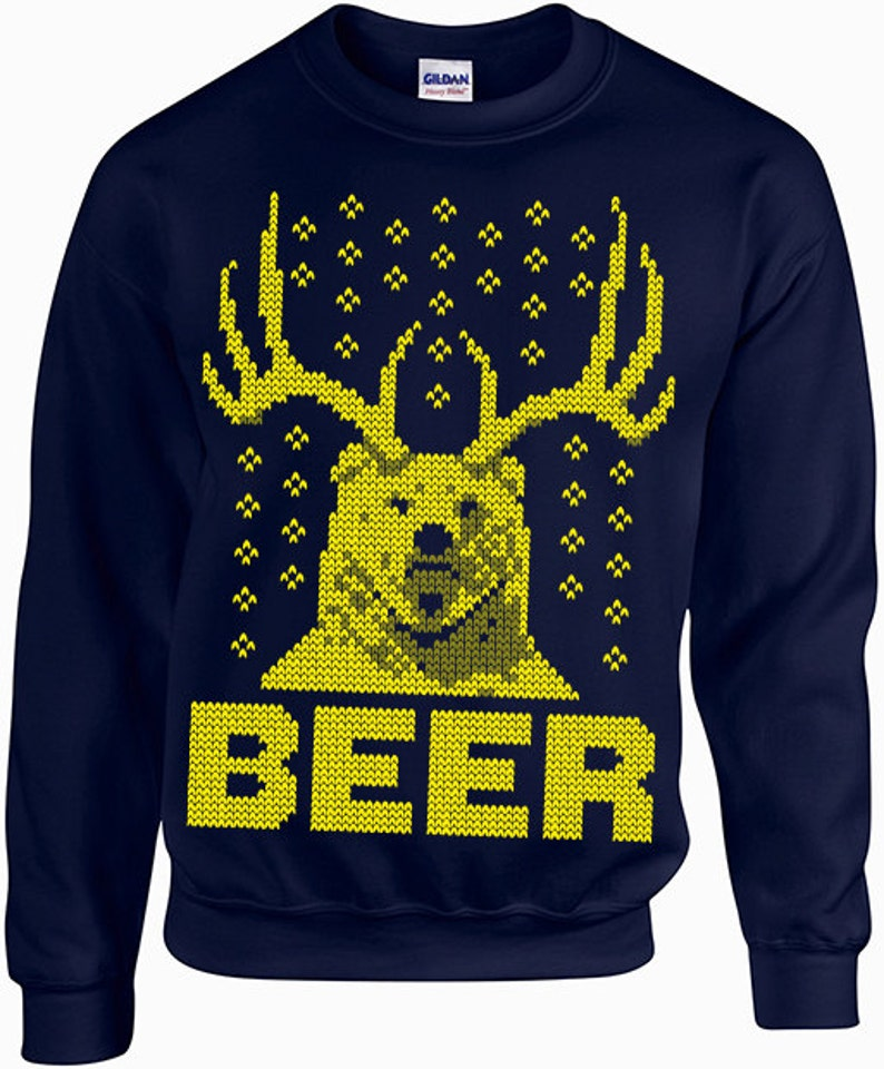 Beer Christmas Sweater.Beer Bear Ugly Christmas Sweater