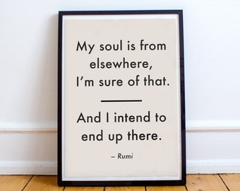 Rumi quote poster, my soul is from elsewhere I'm sure of that, rumi poetry art, typography poster, black and pink art