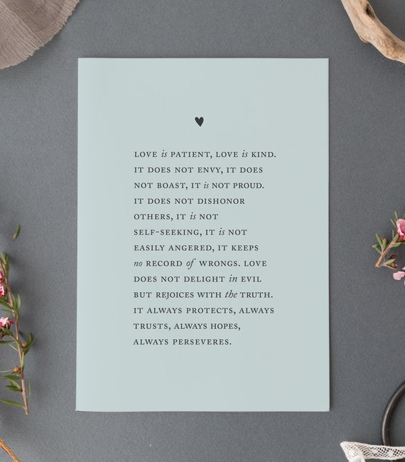 Love Is Patient Love Is Kind Corinthians 134 8 Wedding Etsy